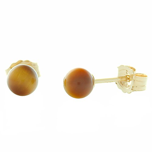 Round Yellow Tiger Gold (Trustmark 14K Yellow Gold 4mm Natural Brown Tigers Eye Ball Stud Post Earrings)