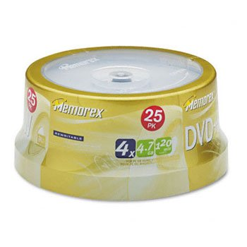 Memorex 25pk Dvd+rw Media 4x Spindle