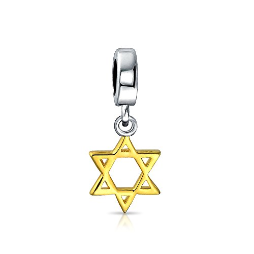 Hanukkah Star Of David Magen Jewish Dangle Charm Bead For Women 14k Gold Plate Sterling Silver Fits European Bracelet