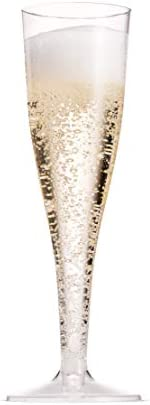 100 Pack Plastic Champagne Flutes 5 Oz Clear Plastic Toasting Glasses Disposable Wedding Thanksgiving Party Cocktail Cups 5
