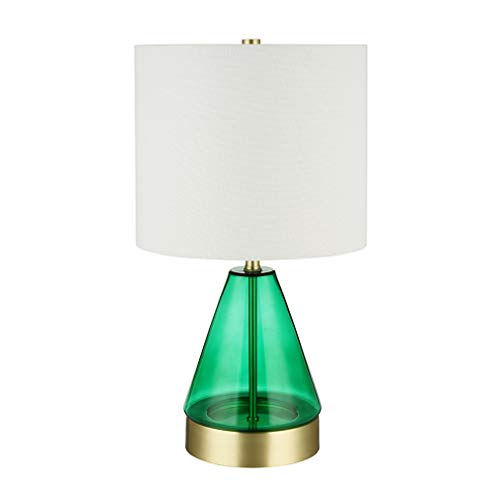 Rivet Modern Cone Table Lamp with LED Light Bulb and USB Port - 10 x 10 x 18 Inches, Green Glass and Brass (Green Glass Lamp)