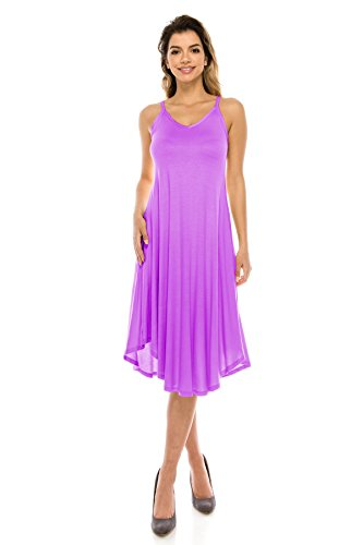 Size Hem Dress Strap Rounded J S USA Style Rayon Span Midi Spaghetti Basic Lavender Doe Women's 5X 08CwPnO8