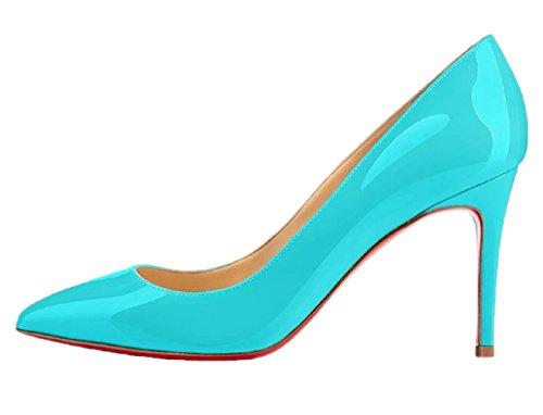 Rouge Semelle HooH Pumps Mariage Femmes Pointed Bleu Stiletto Toe w11YFPxq
