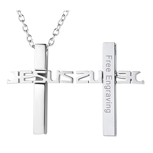 FaithHeart Custom Engraved Stainless Steel Two Tone Jesus Cross Pendant Necklace for Men Women (Silver)