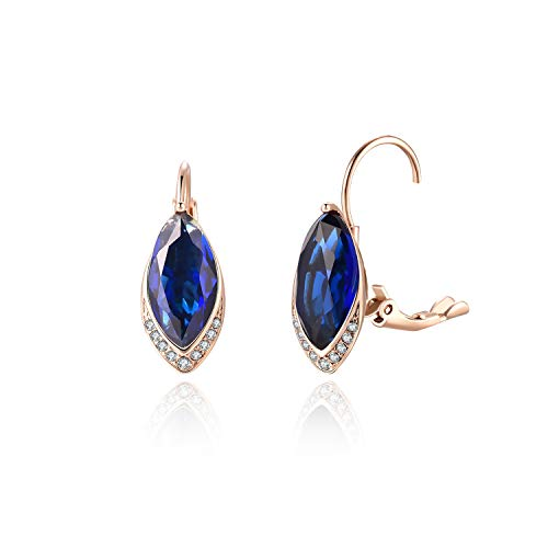 Earrings Marquise Plated Gold - FANCIME Rose Gold Plated Cubic Zirconia CZ Marquise Cut Created Blue Sapphire Leverback Earrings for Women Girls, Hypoallergenic Fashion Jewelry with Gift Box for Mother's Day,Height:2.5 cm