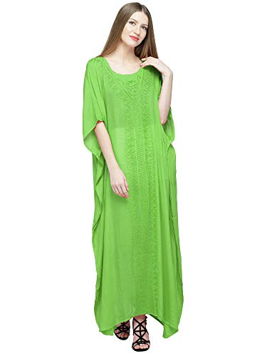 SKAVIJ Women's Tunic Rayon Embroidered Maxi Caftan (Free Size, Lime Green)