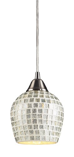 Elk 528-1SLV 1-Light Pendant in Satin Nickel and Silver Mosaic Glass