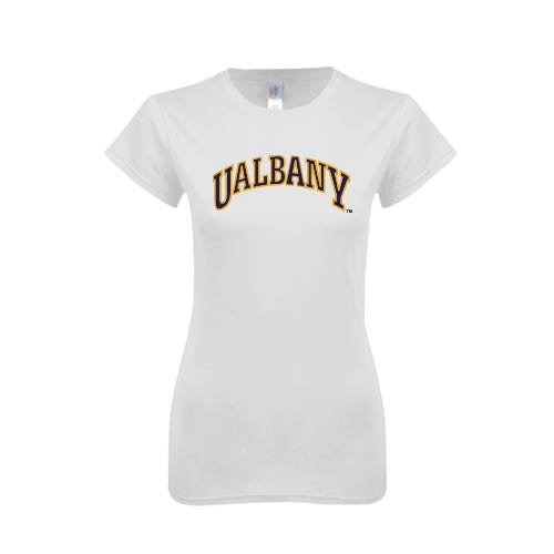 Albany Next Level Ladies SoftStyle Junior Fitted White Tee 'Arched UAlbany'