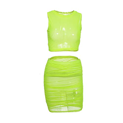 (Neon Green Orange Mesh Sexy Two Piece Set Skirt and Crop Top Women 2 Piece Summer Matching Sets Club Outfits)