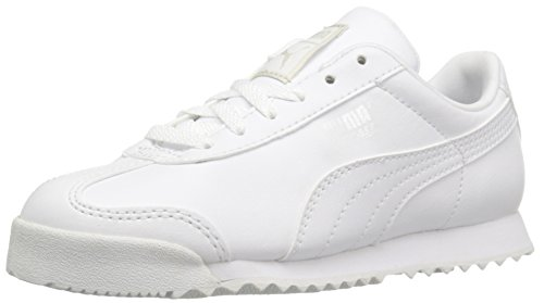 PUMA Boys' Roma Basic PS-K Sneaker, White/Gray Viol, 1 M US Little Kid - Kid White Shoe Sneaker