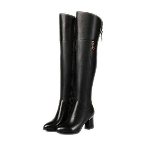 HAOLIEQUAN Frauen Overknee Stiefel Winterstiefel High Heel Mode Mode Mode Runde Kappe Reißverschluss Frauen Stiefel Schuhe Größe 33-42 71152f
