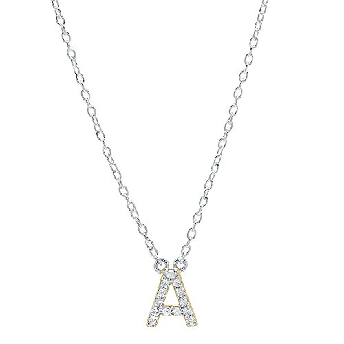 Dazzlingrock Collection 0.12 Carat (ctw) 14K Diamond Uppercase Letter A Initial Pendant (Silver Chain Included), Yellow Gold