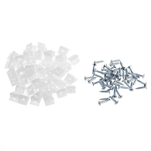BLUECELL 50pcs White Color Plastic Furniture Chest Drawer Bottom Repair Fixing Mend Mending Wedges with Screws ()