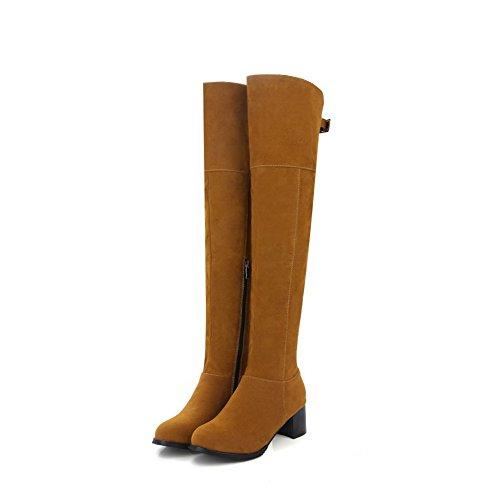Agoolar Womens Zipper Gattina-tacco Imitato In Camoscio Solido High-top Stivali Giallo