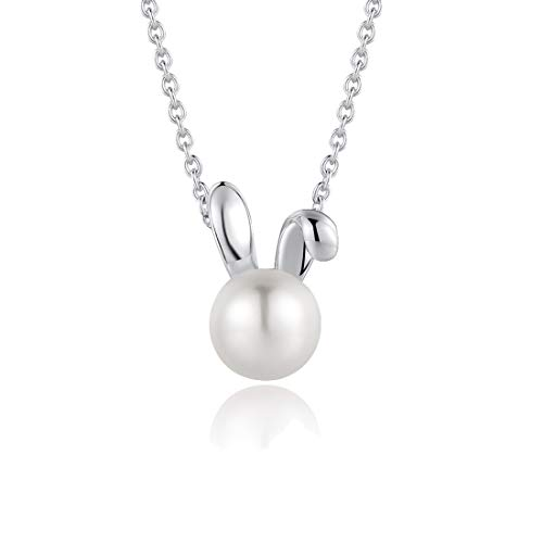 """FANCIME Sterling Silver Freshwater Pearl Necklace Animal Collection Cute Small Rabbit Pendant Necklace Fine Jewelry for Women Girls 16""""+2"""" Extender"""