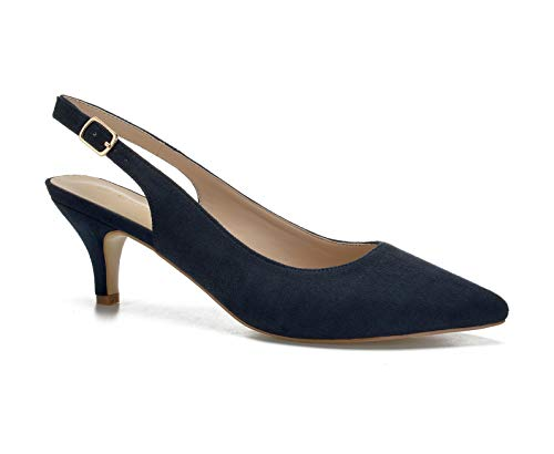 ComeShun Womens Sexy Pointed Closed Toe Comfortable Blue Faux Suede Slingback Pumps Size 9