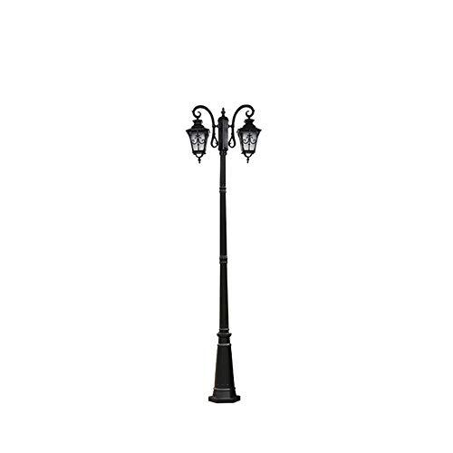 Pumnple 2.4M Black Traditional Victorian Outdoor Garden Lamp Post Bollard Light Antirust Aluminium Park Pathway Lighting High Pole Pillar Lantern Decor Landscape Swimming Pool Courtyard E27 ()