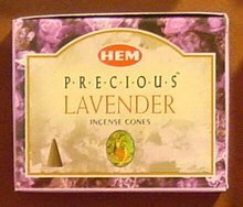 Lavender Incense Cones - Precious Lavender - Case of 12 Boxes, 10 Cones Each - HEM Incense From India