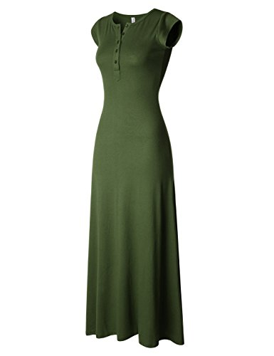 NEARKIN (NKNKWBLD674 Womens Figure Hugging Henley Neck Daily Casual Maxi Dress Khaki X-Large(Tag Size 2XL) from NEARKIN