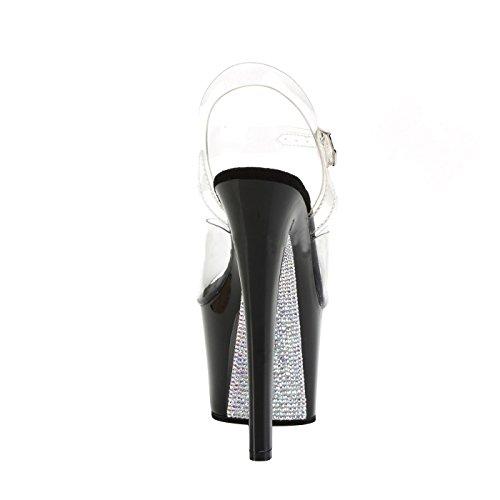 Pleaser Plateau Sandale mit Transparenten Knöchelriemen und Schwarzen Absatz und Plattform, Untergrund Silbern mit Strasssteinen, Vegan, SKY-308C