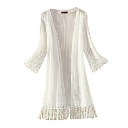 ADREAML Women's V-Neck Knitwear Long Sleeve Soft Basic Knit Cardigan Sunscreen Shirt Long Sleeve Tassels Leisure Blouse White