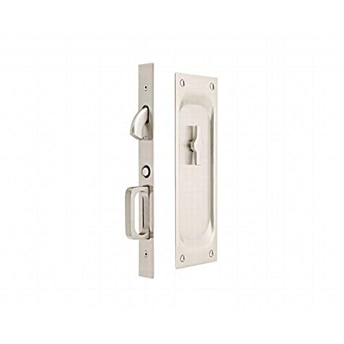 Emtek 2105 7-1/2'' Height Solid Brass Privacy Pocket Door Mortise Lock, Satin Nickel