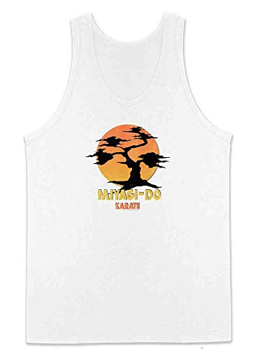 Karate Kid Miyagi-Do Dojo Bonsai Sunset Costume White M Mens Tank Top ()