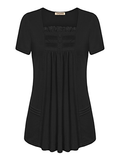 Square In Black Top Neck (Larenba Short Sleeve Tunic Tops, Women Button Round Neck Top Workwear Tunic Blouse Lightweight A Line Lace Summer Swing Shirt for Leegings(Black,Large))