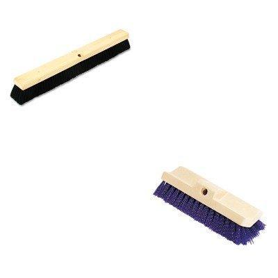 KITBWK20224RCP6337BLU - Value Kit - Boardwalk Floor Brush Head (BWK20224) and Bi-Level Deck Scrub Brush, Polypropylene Fibers, 10 Plastic Block, Tapered Hole -