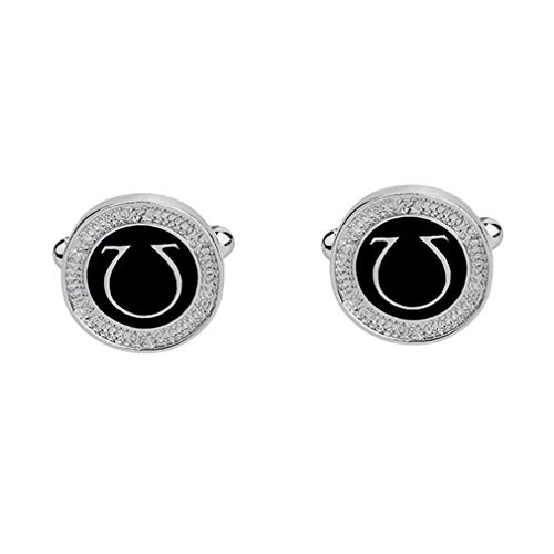 (Maslin Ω Style Black Rectangle Cufflinks Mens Shirt Cuff Button Christmas Gifts for Men Silver Plated Cuff Link - (Brand: New, Color: Black))