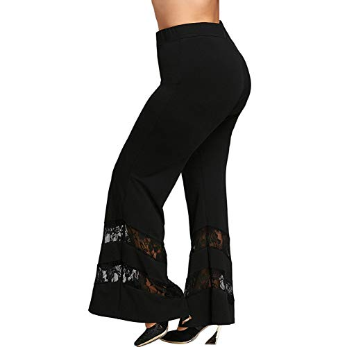 Causal Pants,Lowprofile Fashion Womens Sexy High Waist Leggings Trousers Lace Panel Casual Flare Pants