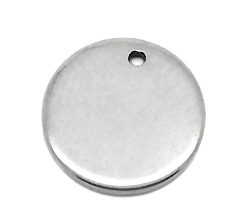 VALYRIA 50pcs Stainless Steel Blank Stamping Tags Round Charm Pendants Silver Tone 10mm(3/8