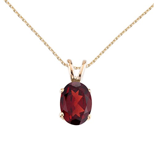 (14k Yellow Gold Oval Large 6x8 mm Garnet Pendant with 18