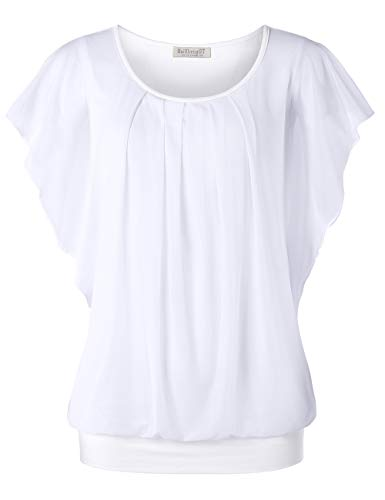 - BAISHENGGT Women's Printed Flouncing Flared Short Sleeve Mesh Blouse Top Medium Solid White