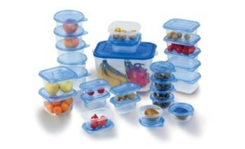 Think Tank Technology 52 Pc 26 Containers Food Storage Set Plastic Blue Lids BPA Free