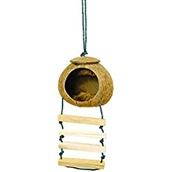 PertidNatural Coconut Shell Bird Nest House with Ladder Suitable for, Squirrels, Birds, Sparrows, Parrots,Small Animals Toy Decorative Bird Cages,No.o1