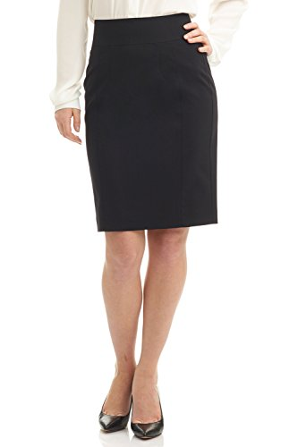 Rekucci Collection Women's Stretch Wool Pencil Skirt with Back Zip Detail (6,Black) ()