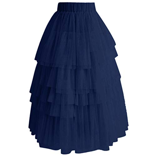 POQOQ Tulle Skirt Vintage Women Colorful Tutu Petticoat Ball Gown Skirt Cupcake Dress Pettiskirt Navy -