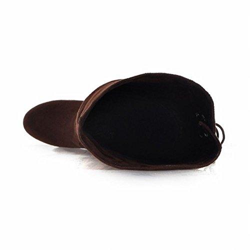 Mee Shoes Damen runde langschaft Plateau adjustable strap Stiefel Braun