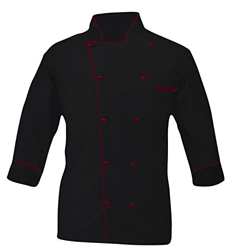 Leorenzo Creation PN-05 Men's Black Chef Coat (Size- L, Dark Red Piping)