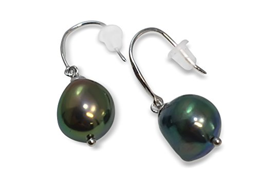 HinsonGayle AAA Handpicked 9-9.5mm Black Baroque Freshwater Cultured Pearl Dangle Earrings Silver by HinsonGayle Fine Pearl Jewelry (Image #1)