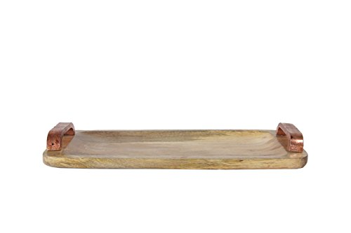 Creative Co-op Mango Wood Tray with Copper Colored Aluminum Handles, Off White ()