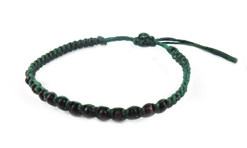 Thai Buddha Fashion Art Handmade Bracelet Green Wax String Black Wood Beads Wristband Thailand