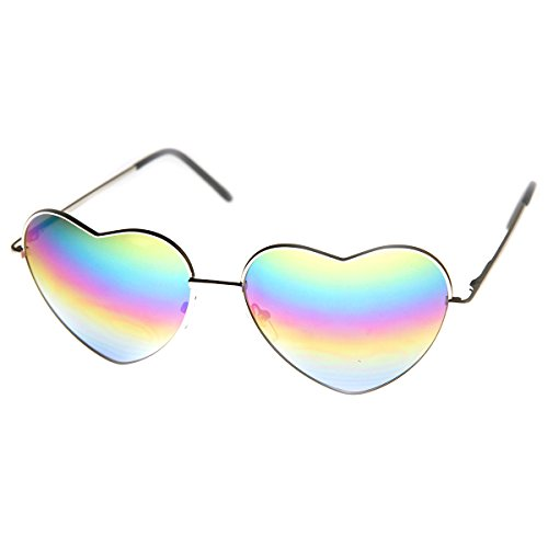 zeroUV - Womens Metal Frame Flash Mirror Rainbow Lens Heart Shape Sunglasses (Heart Shaped Accessories)
