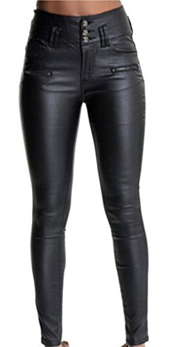 Black Leather Pants For Women - 3