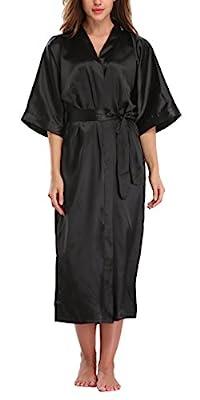 WitBuy Women's Silk Robe Long Satin Kimono Robe Lightweight Bathrobe With Pockets For Bride and Bridesmaids