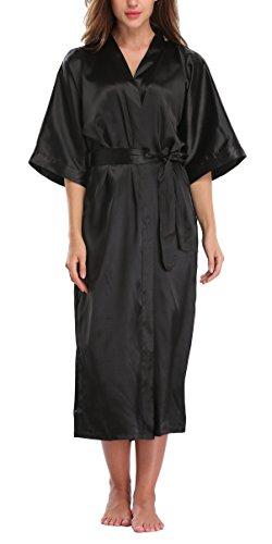 WitBuy Womens Silk Robe Long Satin Kimono Robe Lightweight Bathrobe with Pockets for Bride and Bridesmaids