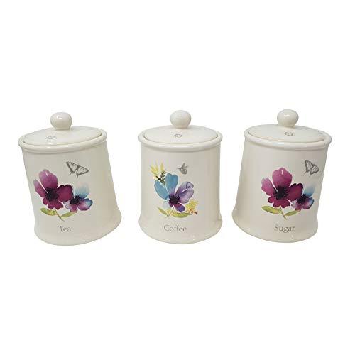 TEA COFFEE SUGAR BLUE PURPLE FLORAL CERAMIC 3 STORAGE JAR CANISTER SET (Ceramic Sets Canister)