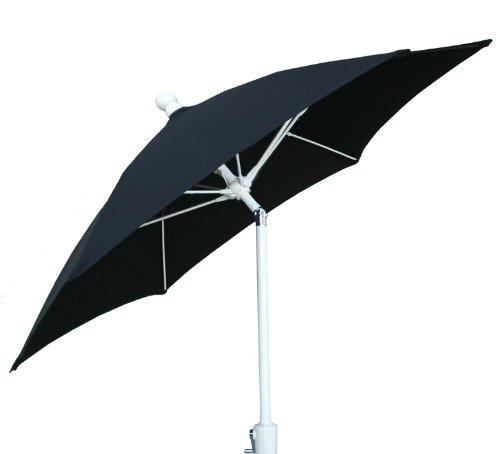 FiberBuilt Umbrellas Terrace Umbrella with Push-Button Tilt, 7.5 Foot Black Canopy and White Pole