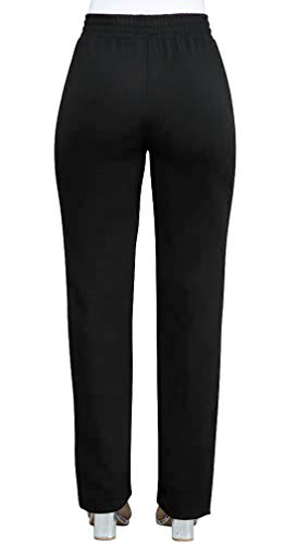 OUFour Lungo Pantaloni Righe Casual Trousers Sottile Pants Nero Donna Cucitura Owr6qOfZx